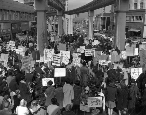 Open Housing Demonstration At Westlake Mall Downtown Seattle March 7 1964 Seattle Post Intelligencer Collection Seattle March Downtown Seattle Exhibition