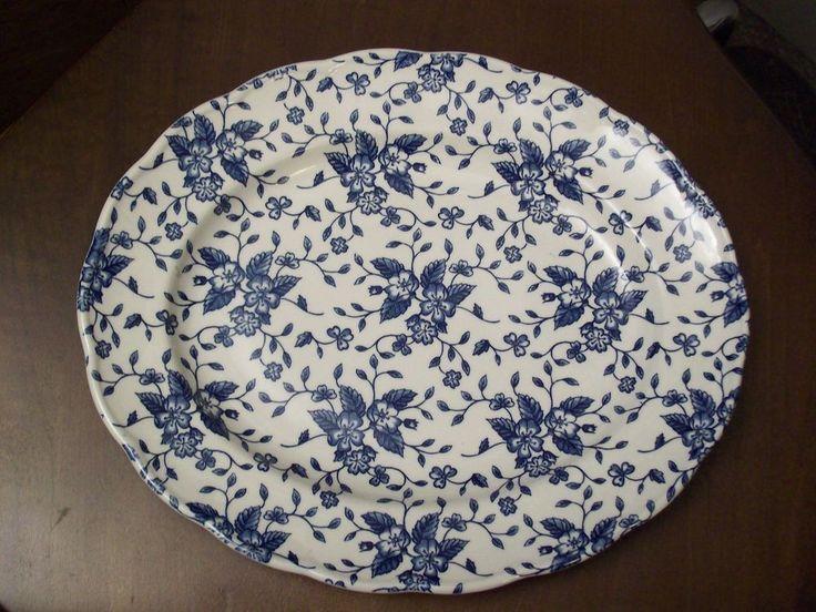 ROYAL Tudor BOUQUET Blue Oval PLATTER by GRINDLEY Englind #Grindley