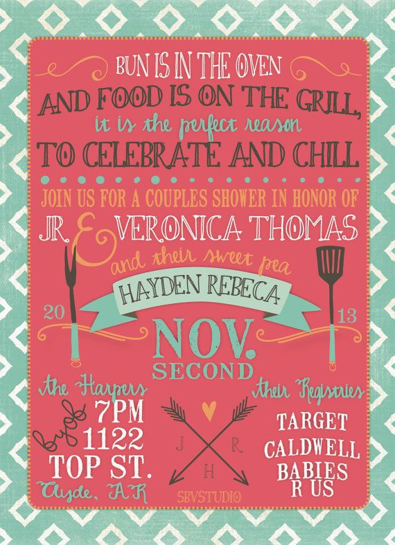 couples baby shower invitation bbq modern girl or boy digital