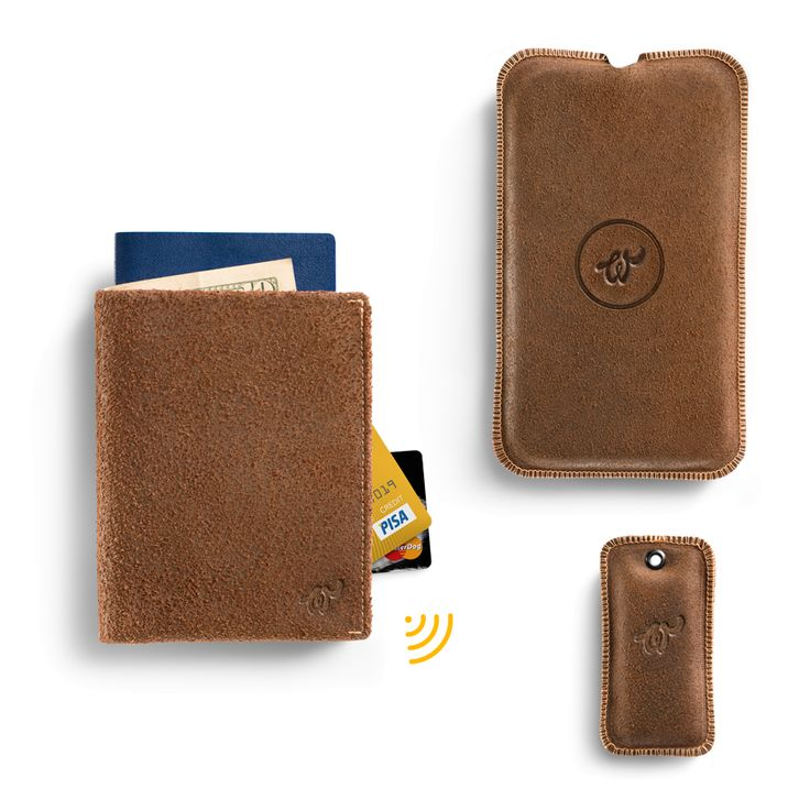 Brown Woolet XL Travel with matching Charging Pad and Key Finder