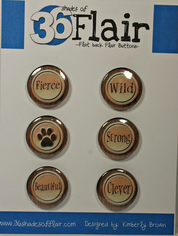 Wild round Flat backed Flair Buttons by 36ShadesofFlair on Etsy, $4.75