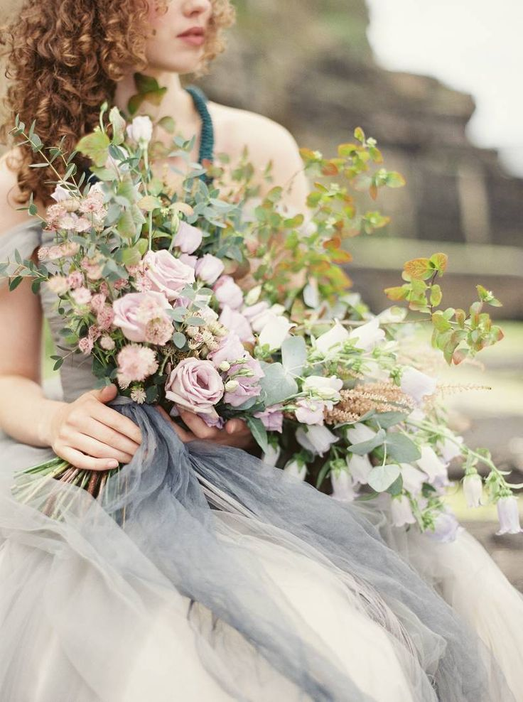 soft pink bouquet w/grey... photo Julie Paisley | florals by Ponderosa & Thyme | gown, details by Sareh Nouri.