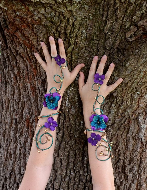 Purple and teal fairy arm cuffs by Frecklesfairychest on Etsy