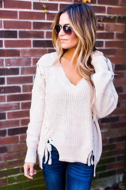 Beige Braided Detail Sweater - Final Sale