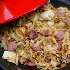 """Pittsburgh Steelers Game Day SamplerI """"A delicious combination of all your tailgating favorites: buttery haluski, mini pierogis and kielbasa all in one. A must-have at any Steelers Game Day party."""""""