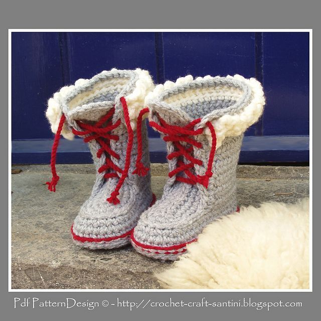 Ravelry: Winter Boots with Fur and Laces. Crochet-pattern for Kids by Ingunn Santini