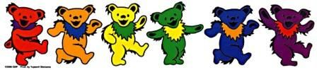 "Grateful Dead - Rainbow Dancing Bears Sticker - $4.00 Nothing beats a rainbow of Dancing Bears!This is a clear background sticker that has a colorful set of 6 Grateful Dead Bears dancing. Approximate size is 2 1/12"" x 10"". Officially licensed Grateful Dead merchandise."