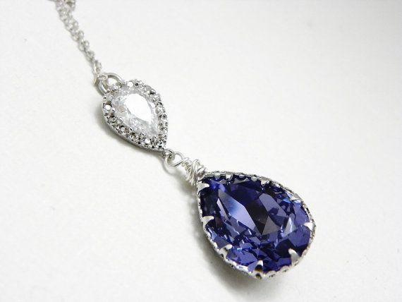 Purple Tanzanite Pendant Necklace: Swarovski Teardrop, Sterling Silver, Cubic Zirconia, Vintage Style, Bridesmaid Gift, Bridal Necklace.