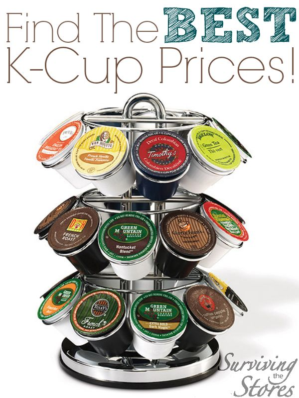 Find the BEST prices on k-cups online!  There are deals here for just about every brand, flavor, and type of coffee available including organic K-Cups! (plus how to order cups that let you use your own coffee in your Keurig!)