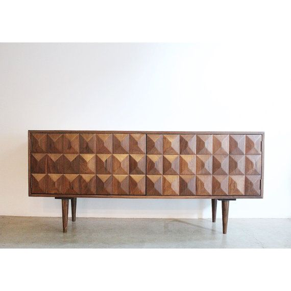 custom made modern credenza features a gorgeous three dimensional carving on the doors handcrafted - Modern Credenza