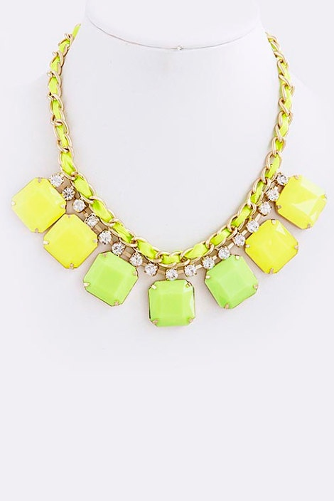 Neon Yellow & Green Statement Necklace with Earrings - JCrew Inspired Statement Necklace