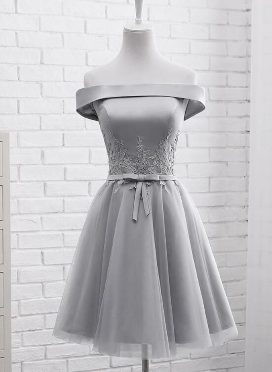 a86fb99be81 Simple Off Shoulder Grey Tulle Applique Bridesmaid Dresses