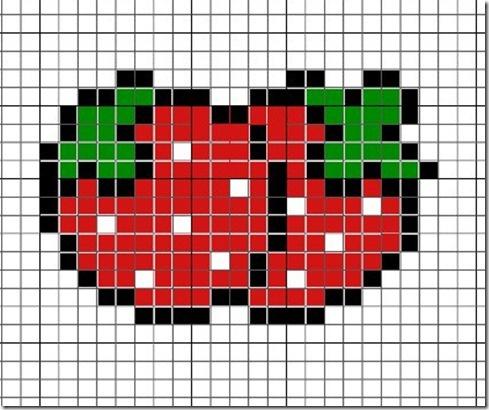 Strawberry kawaii hama perler beads