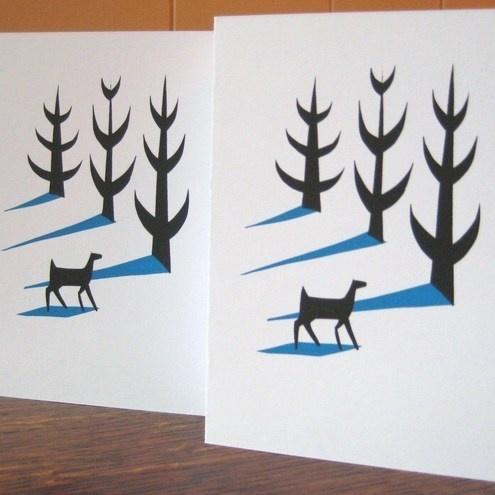 Deer in Winter screenprinted card £1.50