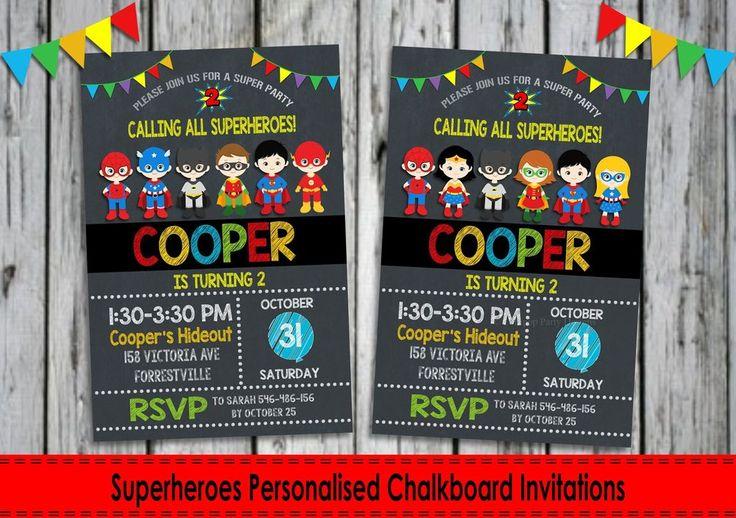 Superheroes Personalised Invitations - Digital or Printed - Ship Worldwide. http://www.lollipoppartysupplies.com.au
