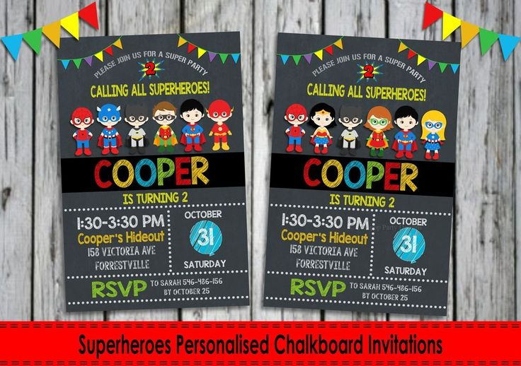 Superheroes Personalised Invitations - Digital or Printed - Ship Worldwide. http://www.lollipoppartysupplies.com.au