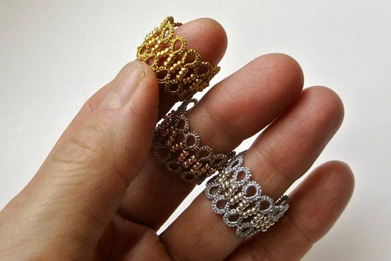 Tatted lace ring Filigree ring Tatting jewelry Frivolitè