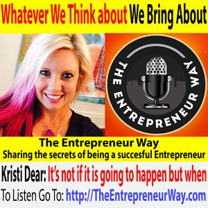 To find out more click this link =>> http://theentrepreneurway.com/podcast/352-whatever-we-think-about-we-bring-about-with-kristi-dear/  Kristi Dear is an International Success Coach, Money Mindset Expert, Author & Speaker. She works with women who are TIRED of struggling to make the money they desire in their biz, and who are on the verge of burn out, & overwhelm. She supports her clients to GO BIG and capitalize on their GREATEST strengths,build confidence & create strategies…