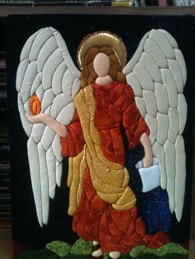patchwork sin aguja inspirado en un vitral - arcangel uriel