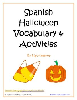 spanish halloween vocabulary and activities - Preschool Halloween Bingo