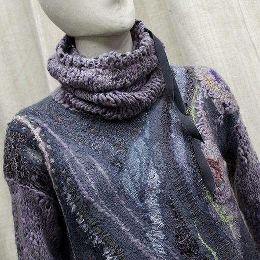 Кофты и свитера ручной работы. Ярмарка Мастеров - ручная работа. Купить Валяный свитер Сиреневый туман. Handmade. Серый, нуновойлок