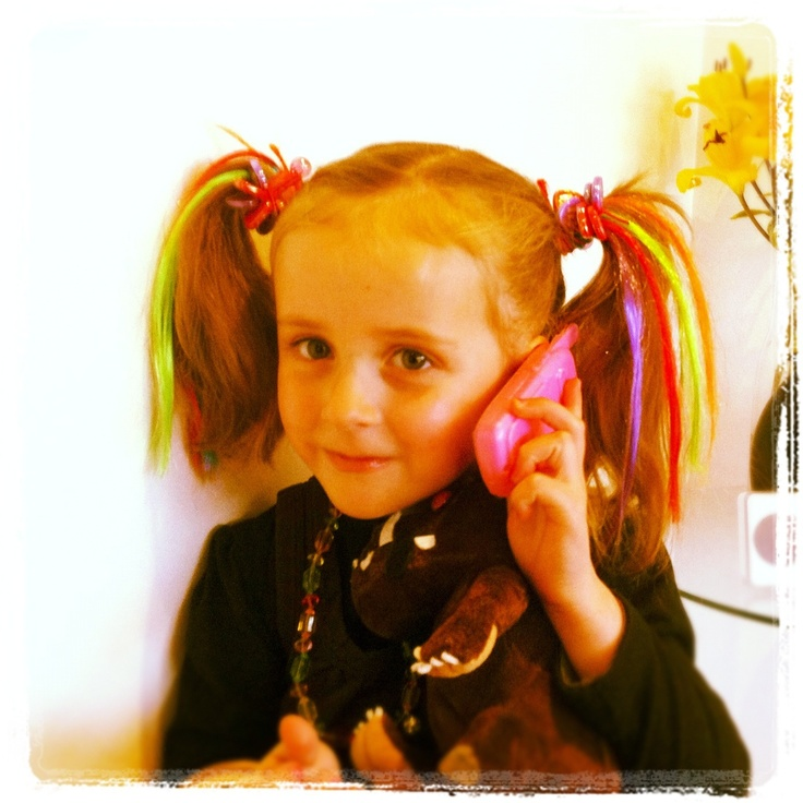 Neon ponytails are perfect for a preschool disco! Kids fashion