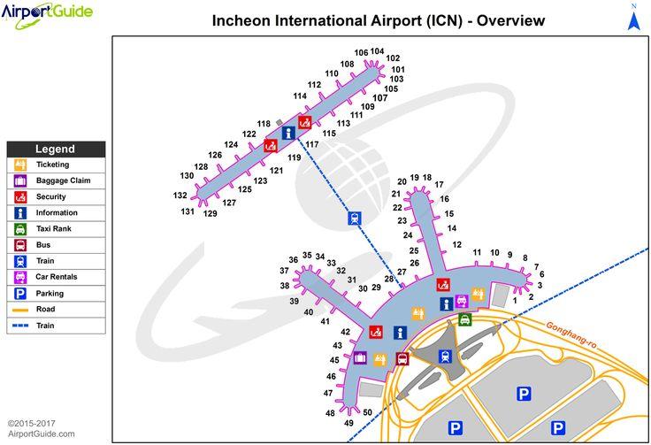 seoul - incheon international (icn) airport terminal map