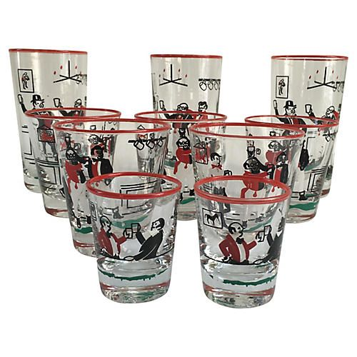 Midcentury Assorted Glasses, 10-Pcs