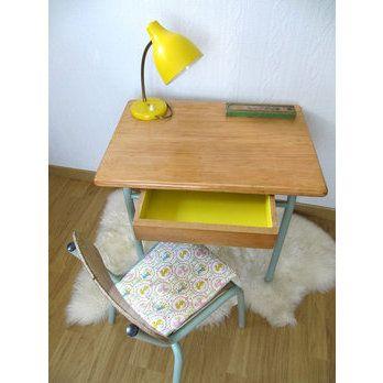 Bureau enfant vintage jaune Pop