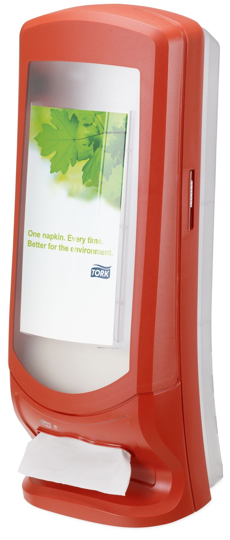 Tork Xpressnap® Stand Napkin Dispenser: We guarantee Tork Xpressnap® napkin dispensing system will reduce napkin usage by at least 25% compared with traditional dispensers, helping you to reduce napkin consumption and waste. (System: N4 - Interfolded napkin system; Material: Plastic; Height: 622mm, Width: 235 mm, Depth: 235 mm; Color: Red) Get more information about this product at: http://bimobject.com/en/sca-eu/product/272212/sca-tork-eu