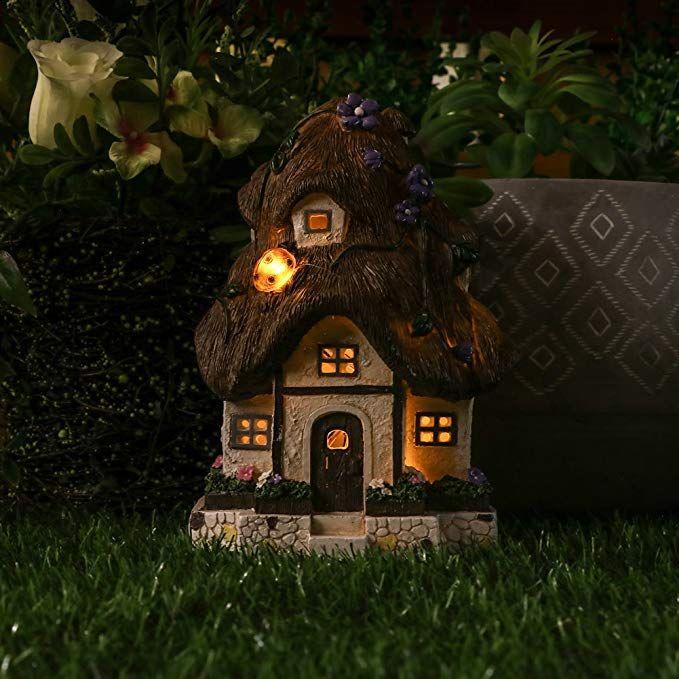 Hanna S Cottage 20cm Fairy Garden House Led Solar Gartendeko Fairy Garden House Fur Aussen Aus Kunstharz Solar Solarleuchten Garten Fee Gartenhauser Garten Deko