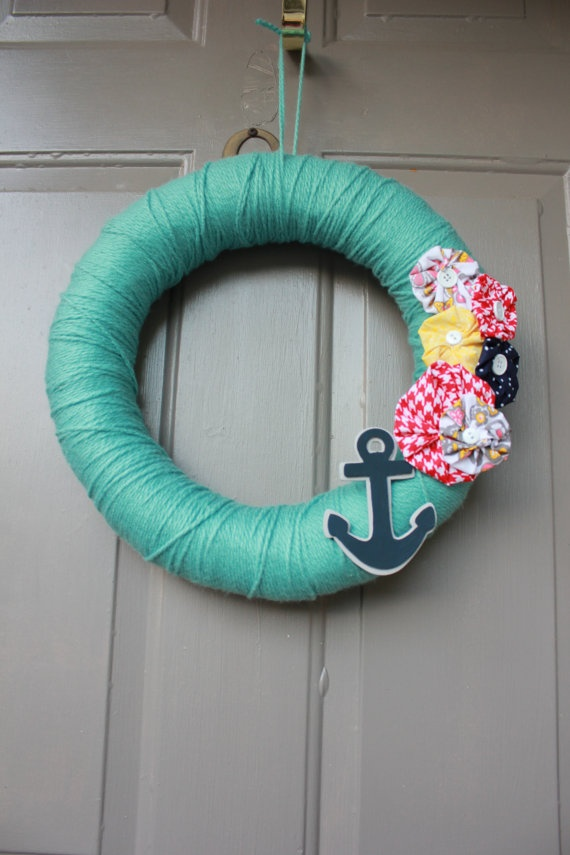 Summer Yarn Wreath  Seafoam With Flowers and Anchor by bnewma4
