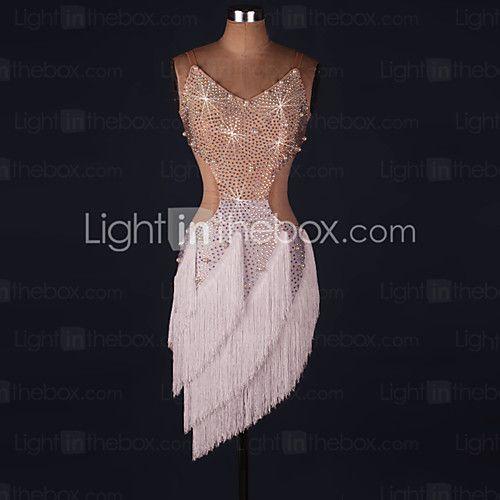 Latin Dance Dresses Performance Spandex / Lace / Organza Crystals/Rhinestones / Ruffles 1 Piece Long Sleeve High Dress 2017 - $89.99