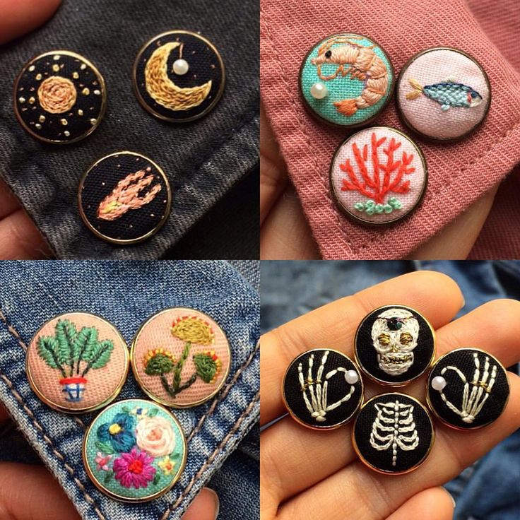 Space, sea life, plants and Skelton embroidered buttons
