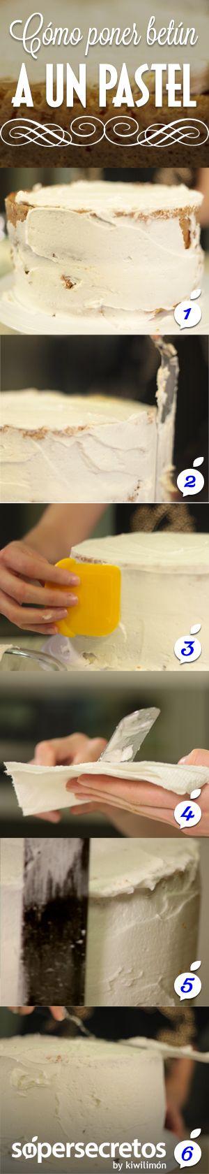 Cómo ponerle betún a un pastel.                                                                                                                                                                                 Más
