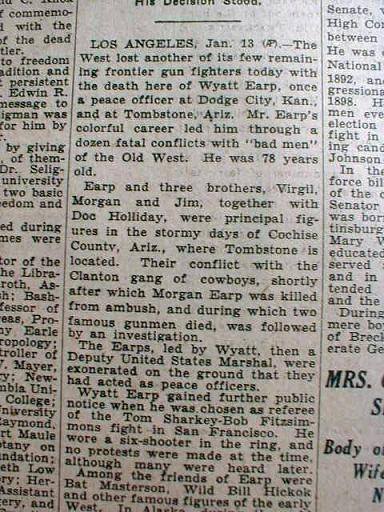 Wyatt Earp's Death Announcement