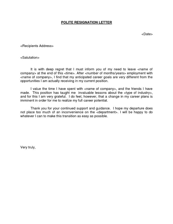 POLITE RESIGNATION LETTER BestdealformoneyWriting A Letter Of Resignation  Email Letter Sample  Example Of A Resignation Letter