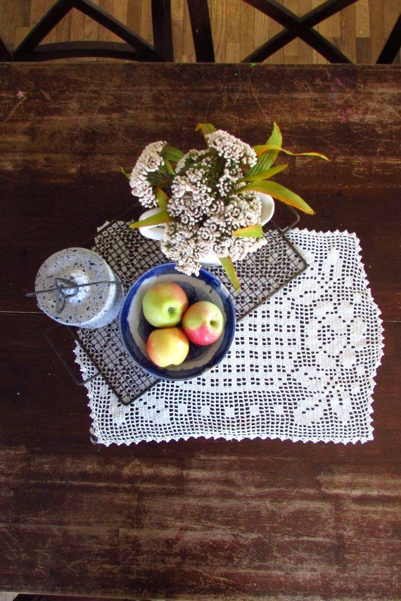 Crochet Doily Lace Small Table Runner Vintage Doilies Vintage