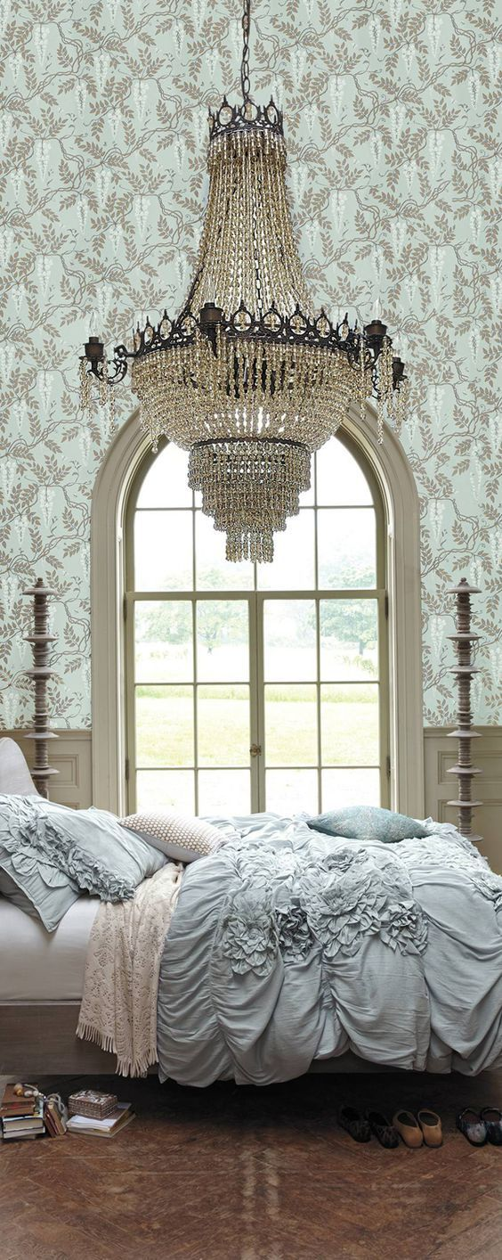 Beautiful! Although I Might be afraid the chandelier would fall while I'm sleeping!