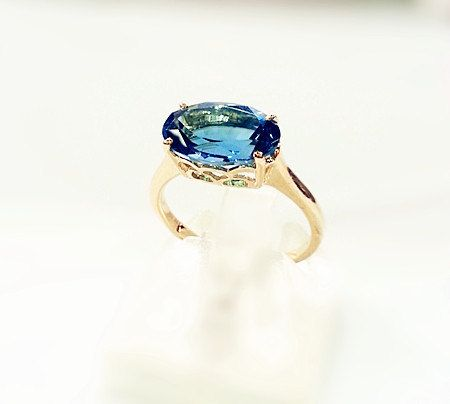 3.96 ctw Fancy Oval  London Blue Topaz Filigree Ring Set in 14K White / Yellow Gold/ Engagement Ring/ Sideways Set Ring/ East West Set Ring on Etsy, $279.00