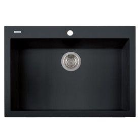 Latoscana One 30-In X 20-In Black Matt Single-Basin Granite Drop-In 1-