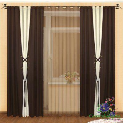 Готовые шторы  с тюлем  Реалтекс модель № (003) венге-шампань