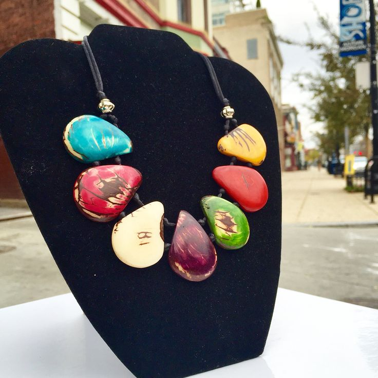 """""""Colores Necklace"""" - Tagua seeds, adjustable size, handmade by Pilar Morales - $39"""