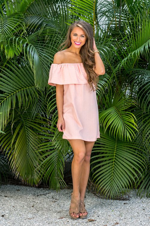 Romance In The Rose Garden Off The Shoulder Dress - The Pink Lily
