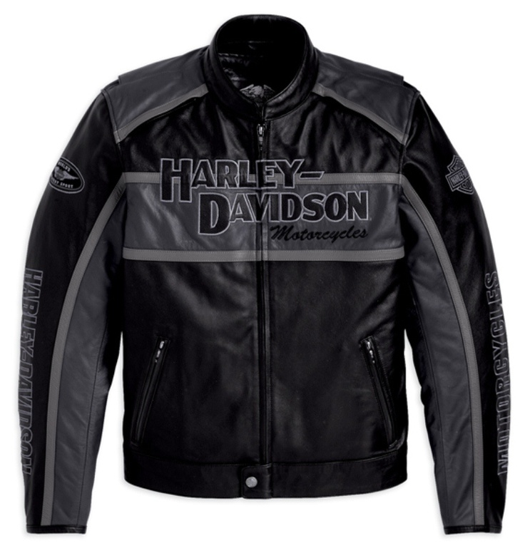 Mens Harley Davidson Grey Classic Cruiser Leather Jacket