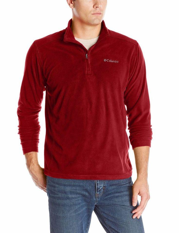 Columbia Mens Sweater Sz XL Red Solid Half Zip Fleece Sportswear Casual Sweater #Columbia #12Zip