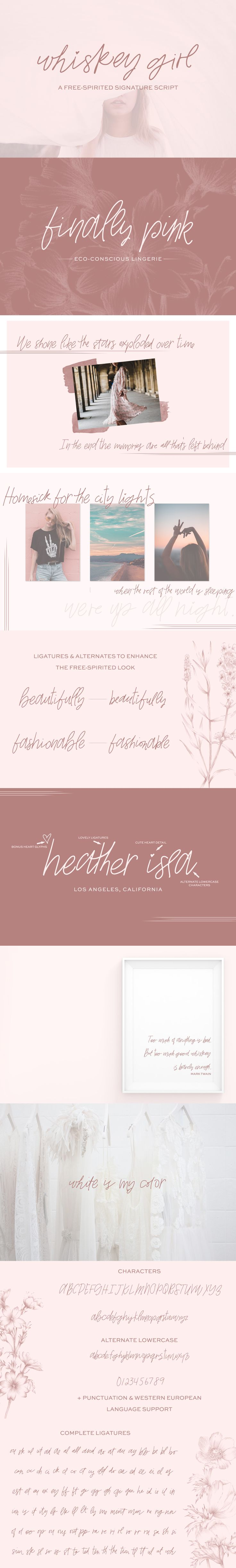 Whiskey Girl, handwritten script font - luxury font, fashion font, handwriting font
