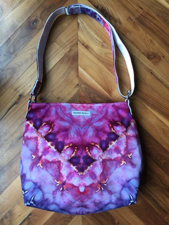 Hand geverfd Crossbody tas - roze saffier