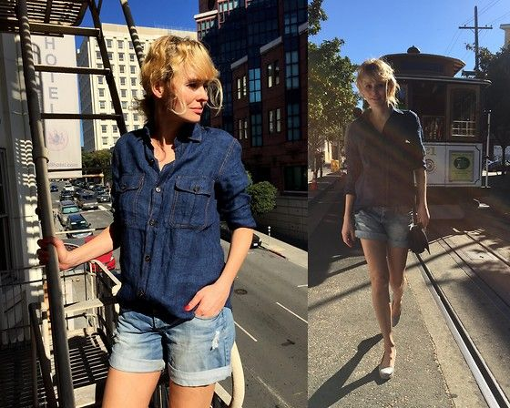 Get this look: http://lb.nu/look/7916692  More looks by Marzena Lewandowska: http://lb.nu/stellamonella  #denim #jeans #totallook #total #shirt #shirts #shorts
