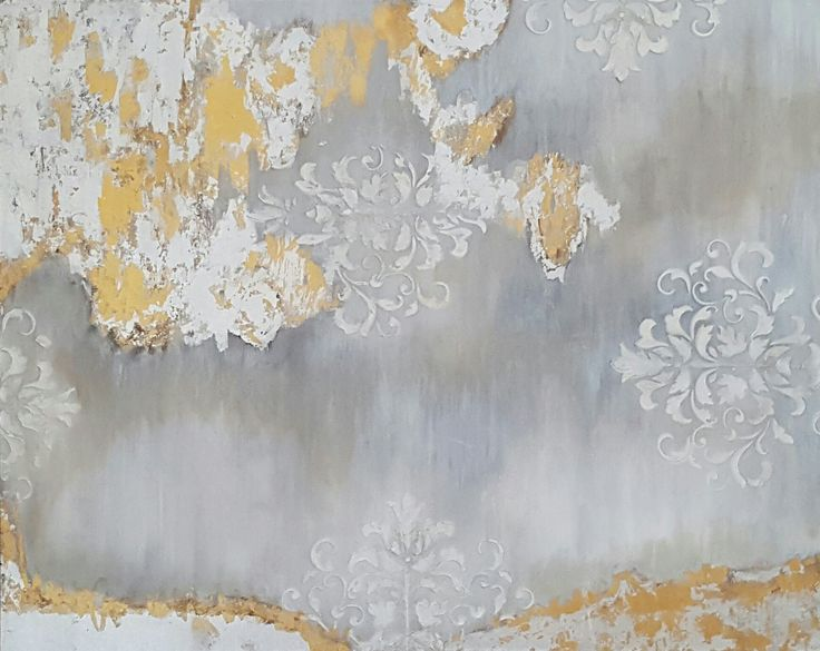 Acrylic medium, textured, gold and silver leaf